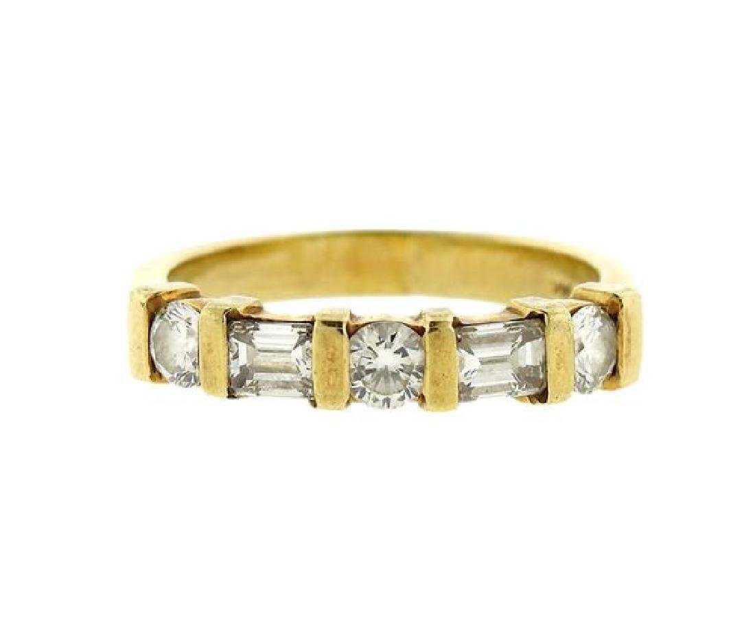 14k Gold Diamond Half Wedding Band Ring