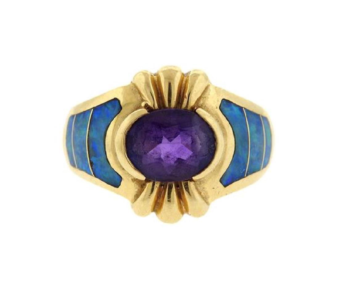 14K Gold Amethyst Opal Inlay Ring