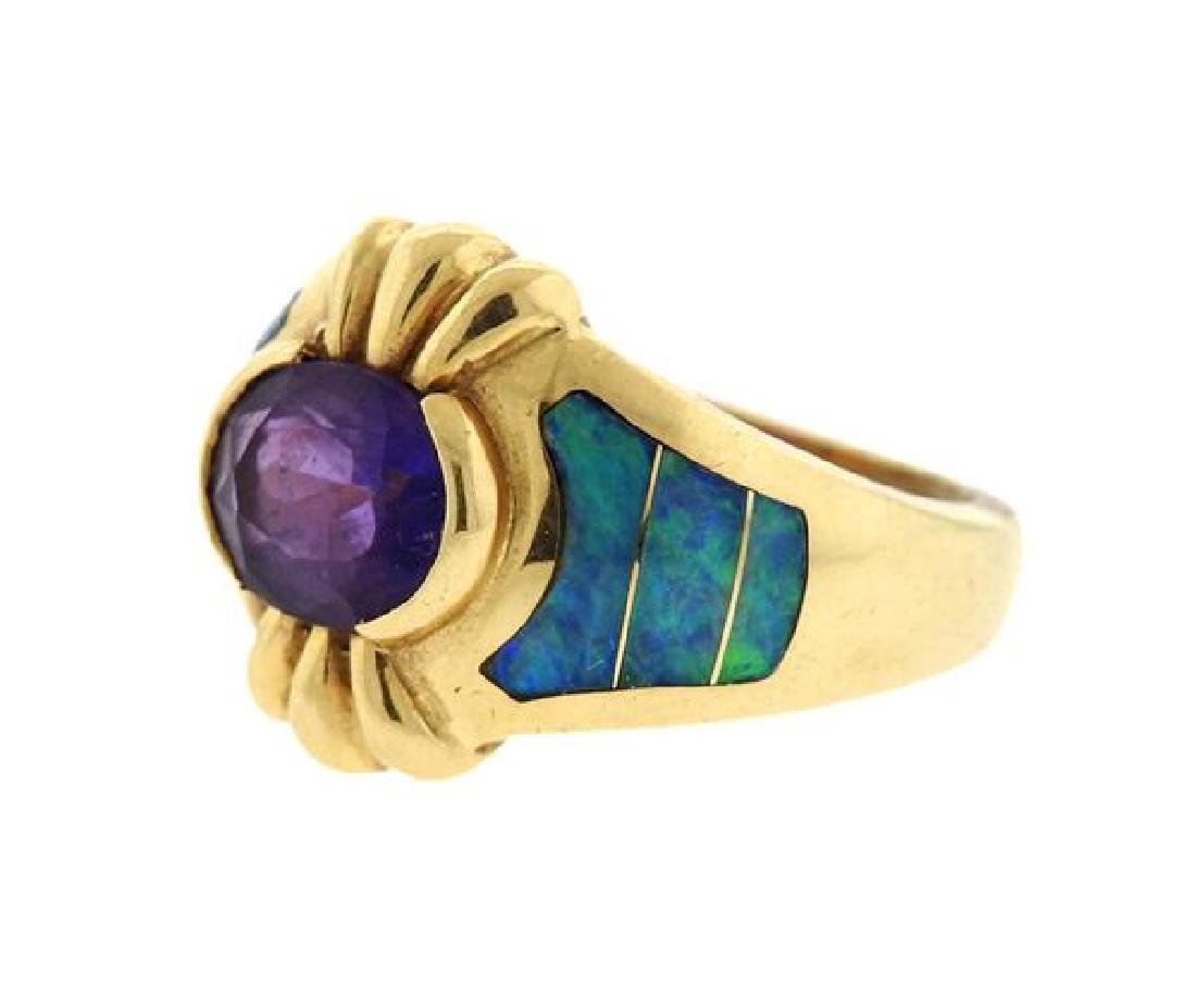 14K Gold Amethyst Opal Inlay Ring - 2