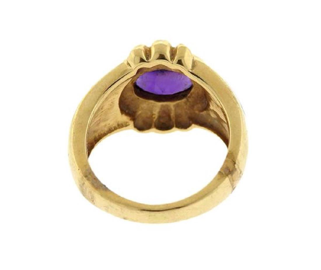 14K Gold Amethyst Opal Inlay Ring - 3
