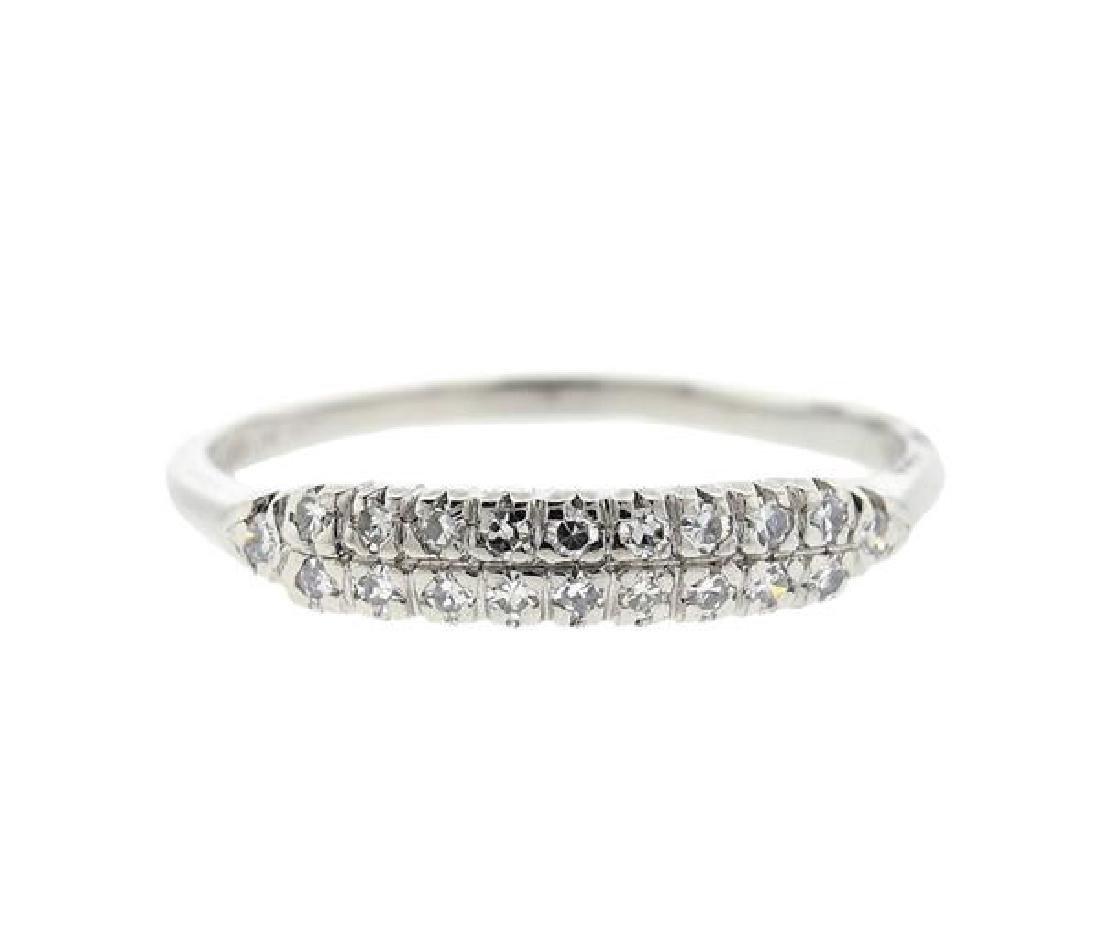 Platinum Diamond Half Wedding Band Ring