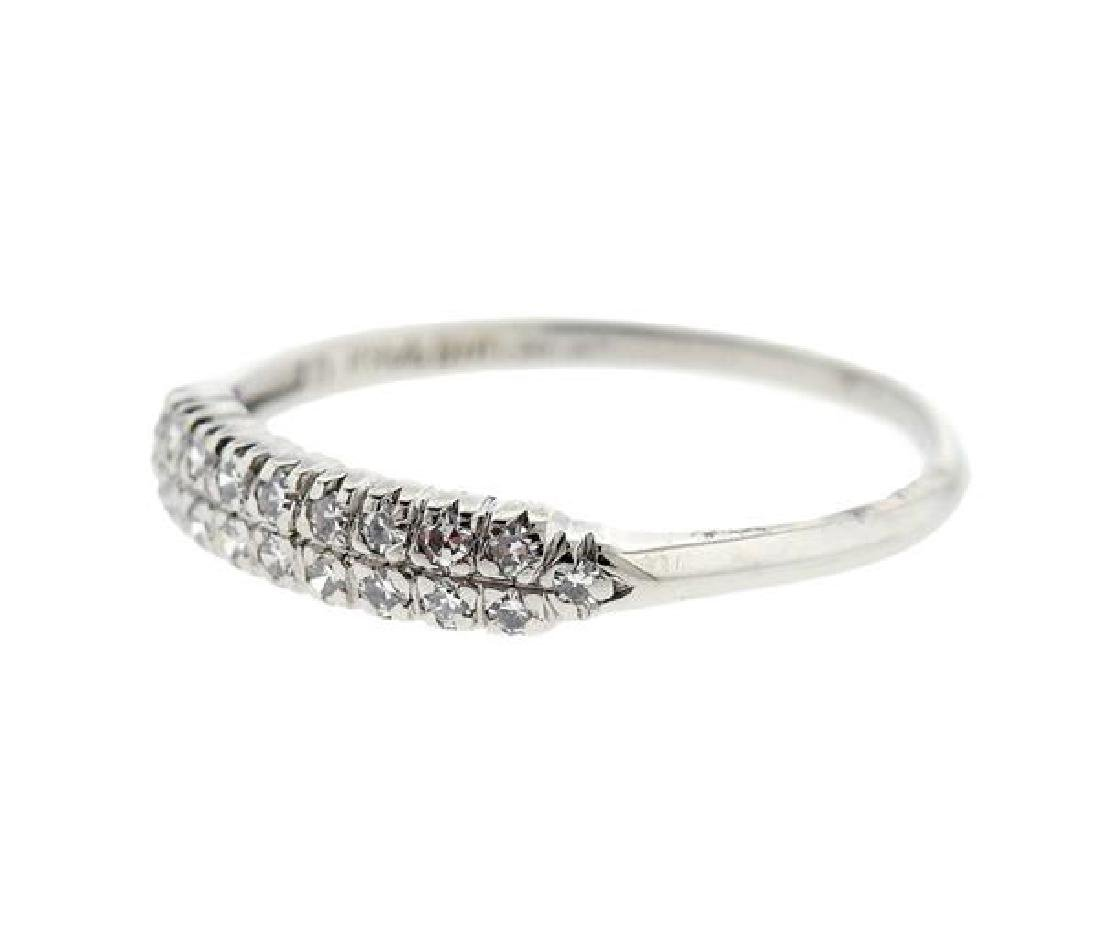 Platinum Diamond Half Wedding Band Ring - 2
