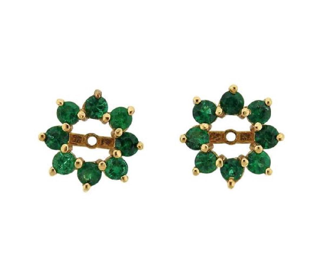 14K Gold Emerald Earring Jackets