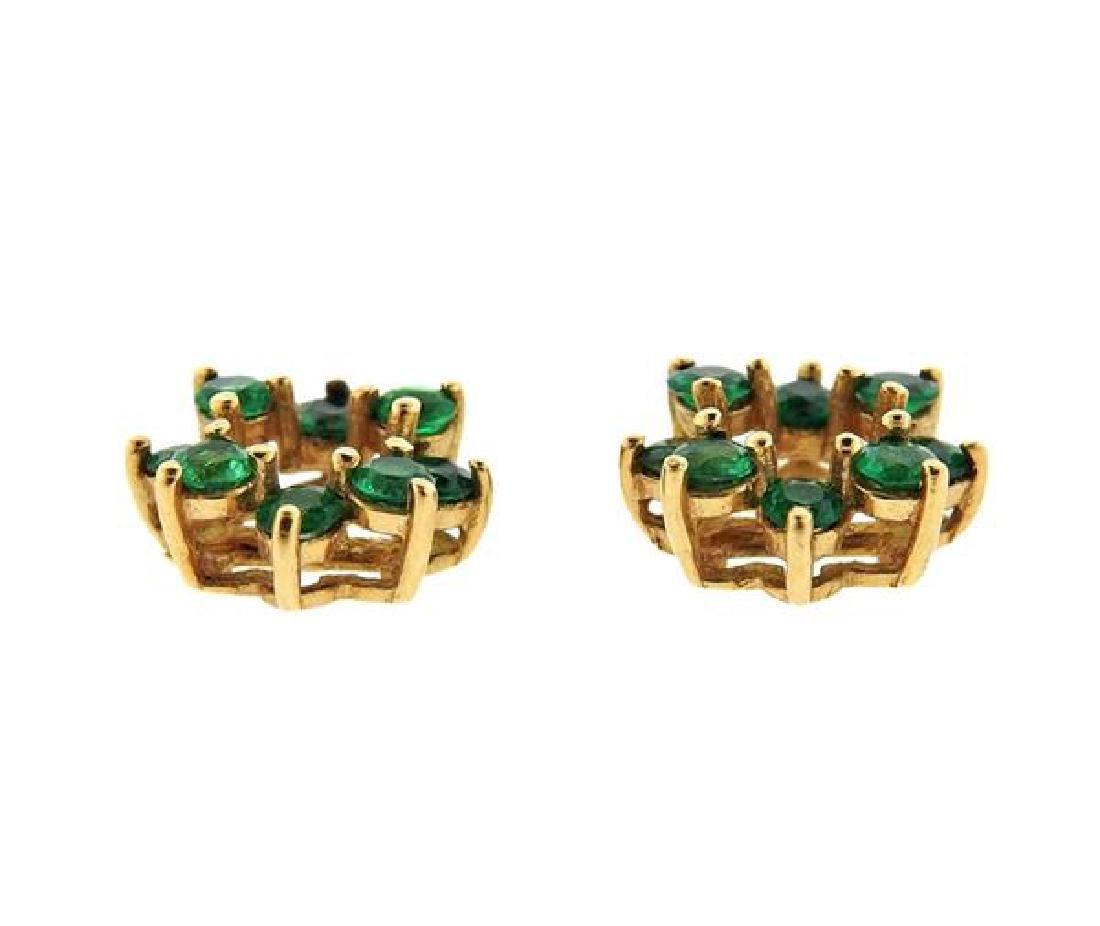 14K Gold Emerald Earring Jackets - 2