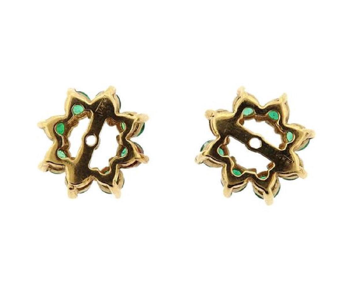 14K Gold Emerald Earring Jackets - 3