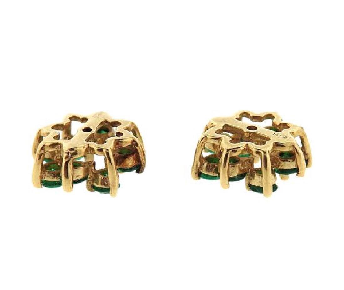14K Gold Emerald Earring Jackets - 4