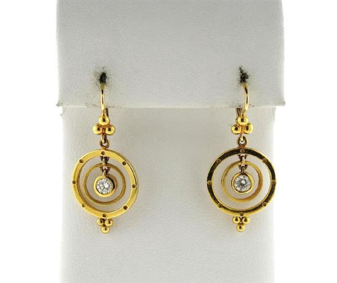 Temple St. Clair 18K Gold Diamond Drop Earrings
