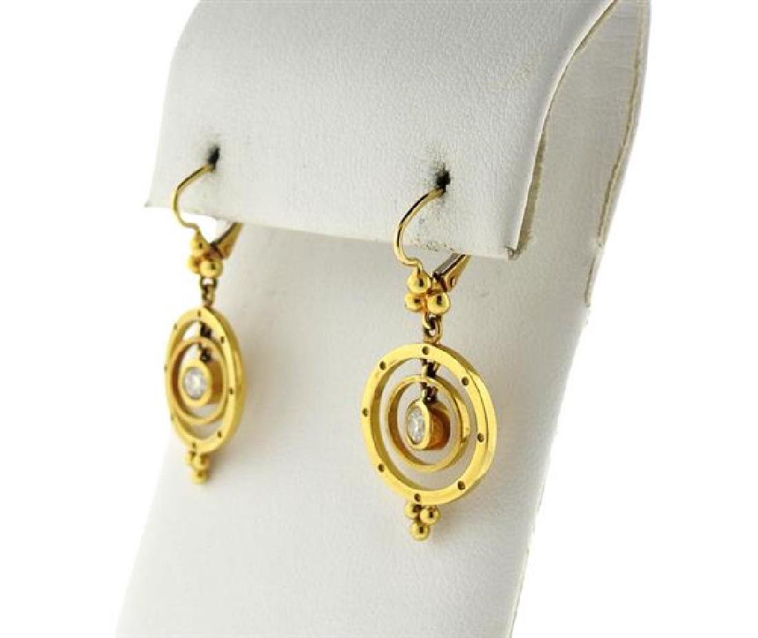 Temple St. Clair 18K Gold Diamond Drop Earrings - 2
