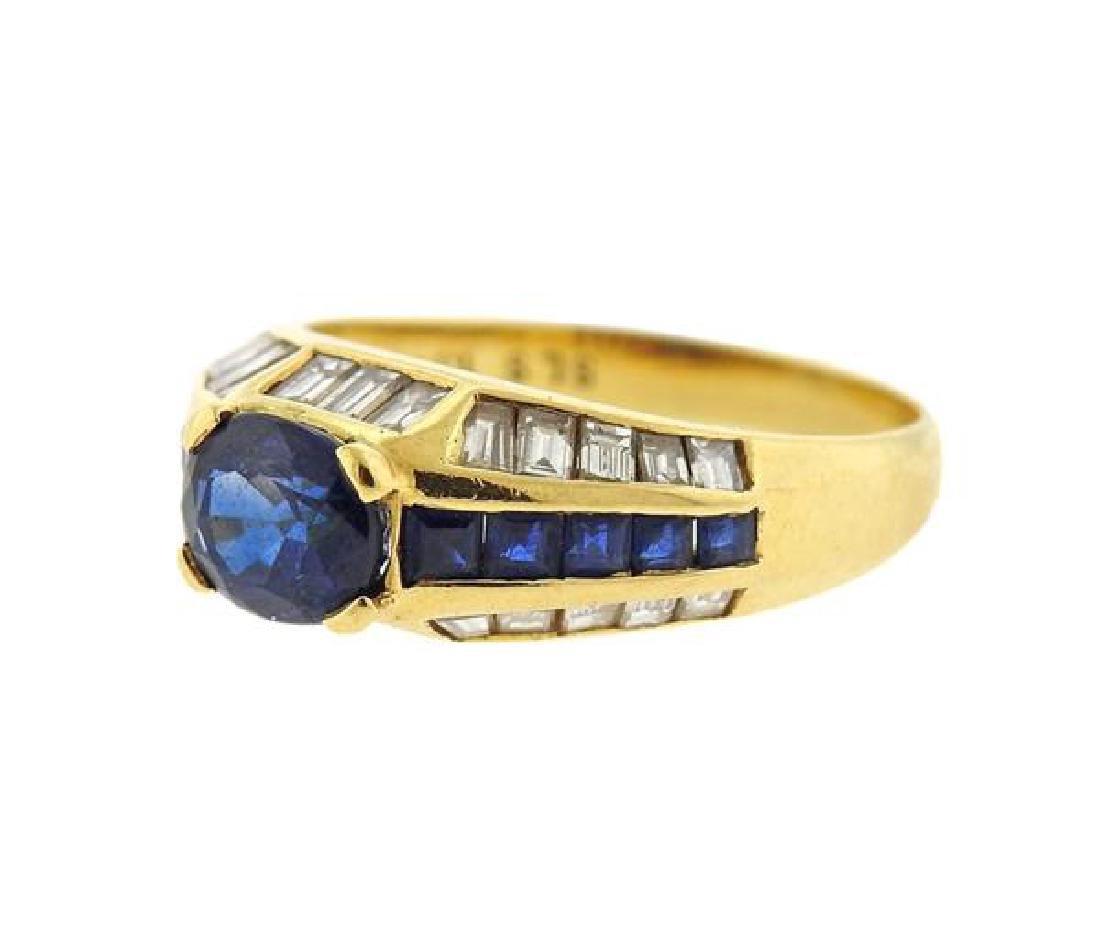 18K Gold Sapphire Diamond Ring - 2