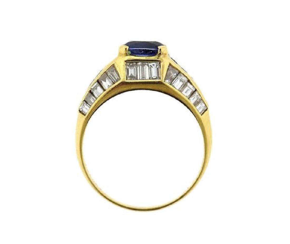 18K Gold Sapphire Diamond Ring - 3