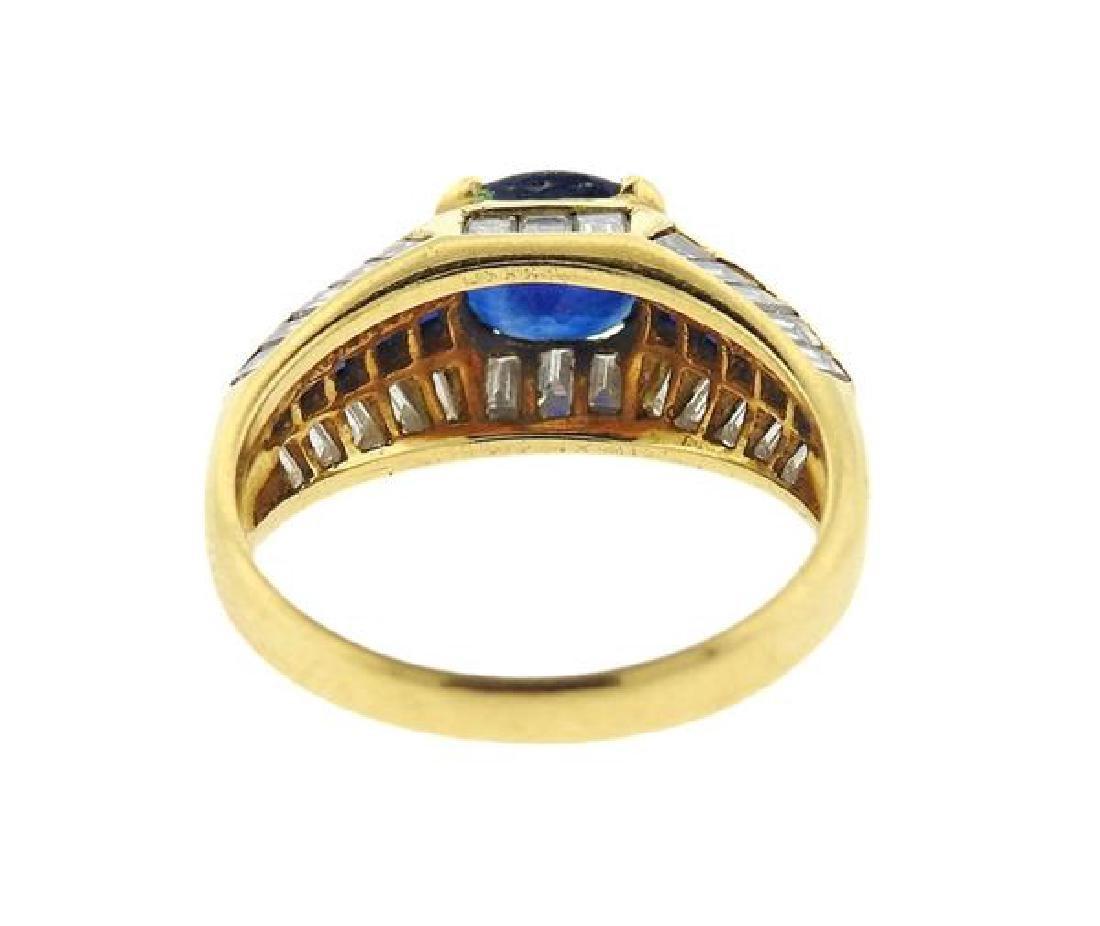 18K Gold Sapphire Diamond Ring - 4