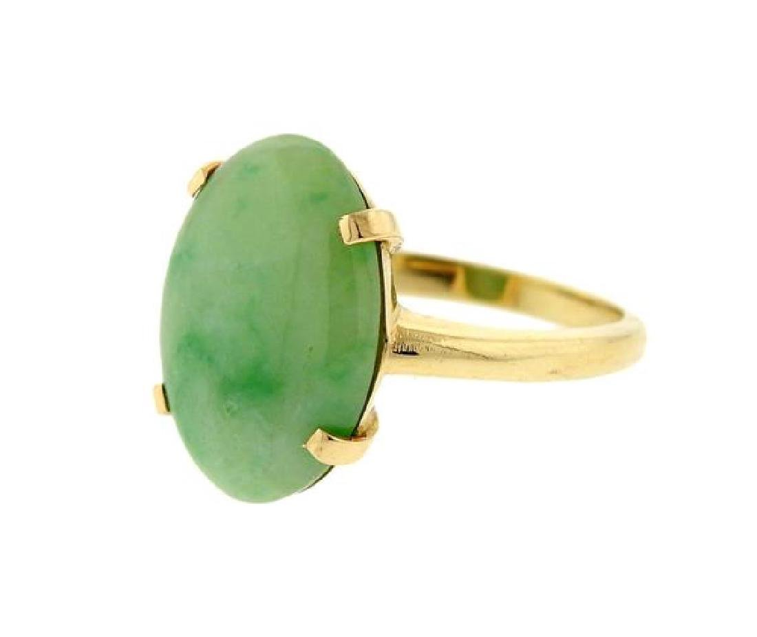 14K Gold Jade Ring - 2