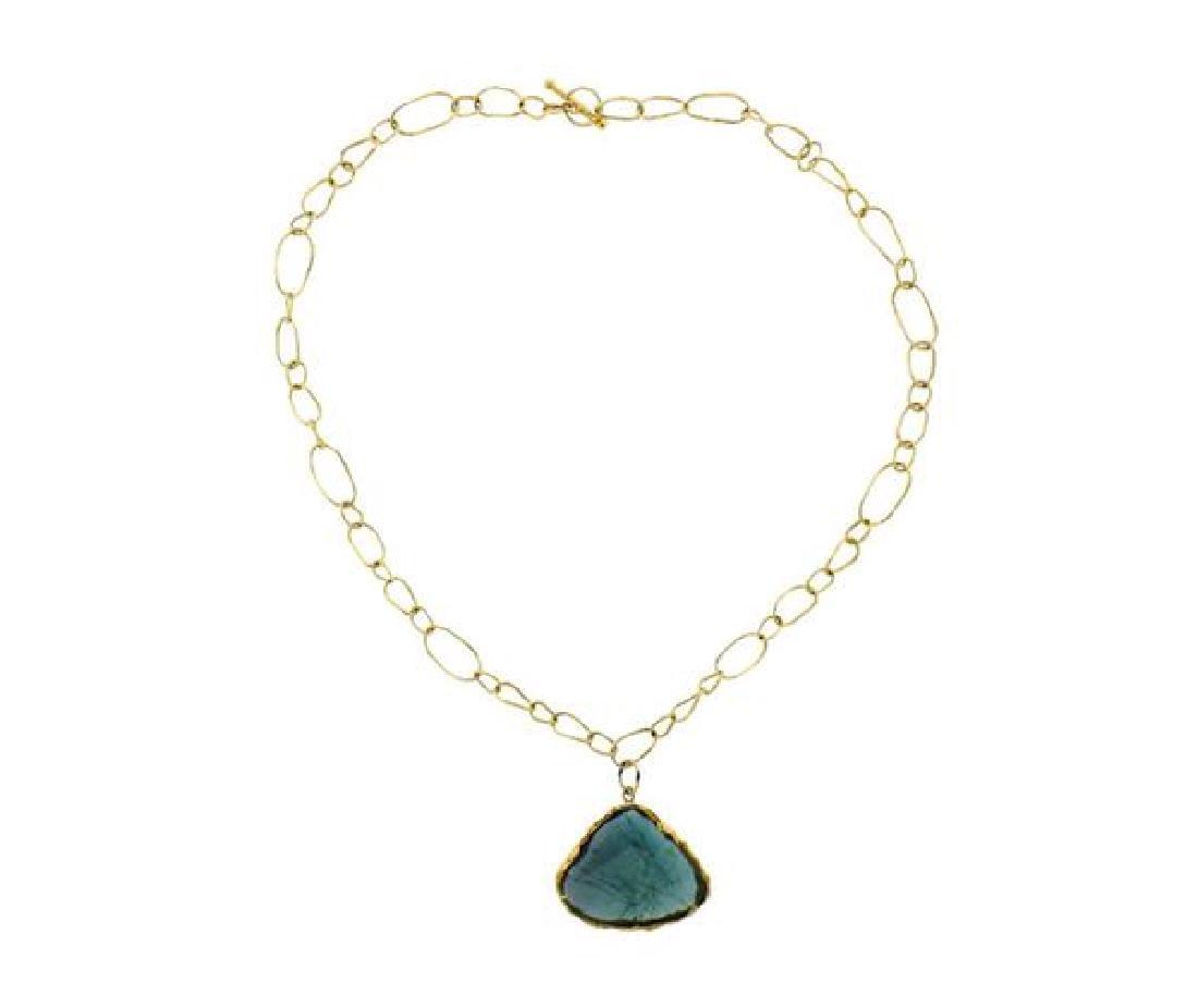 18K Gold Blue Stone Pendant Link Toggle Necklace