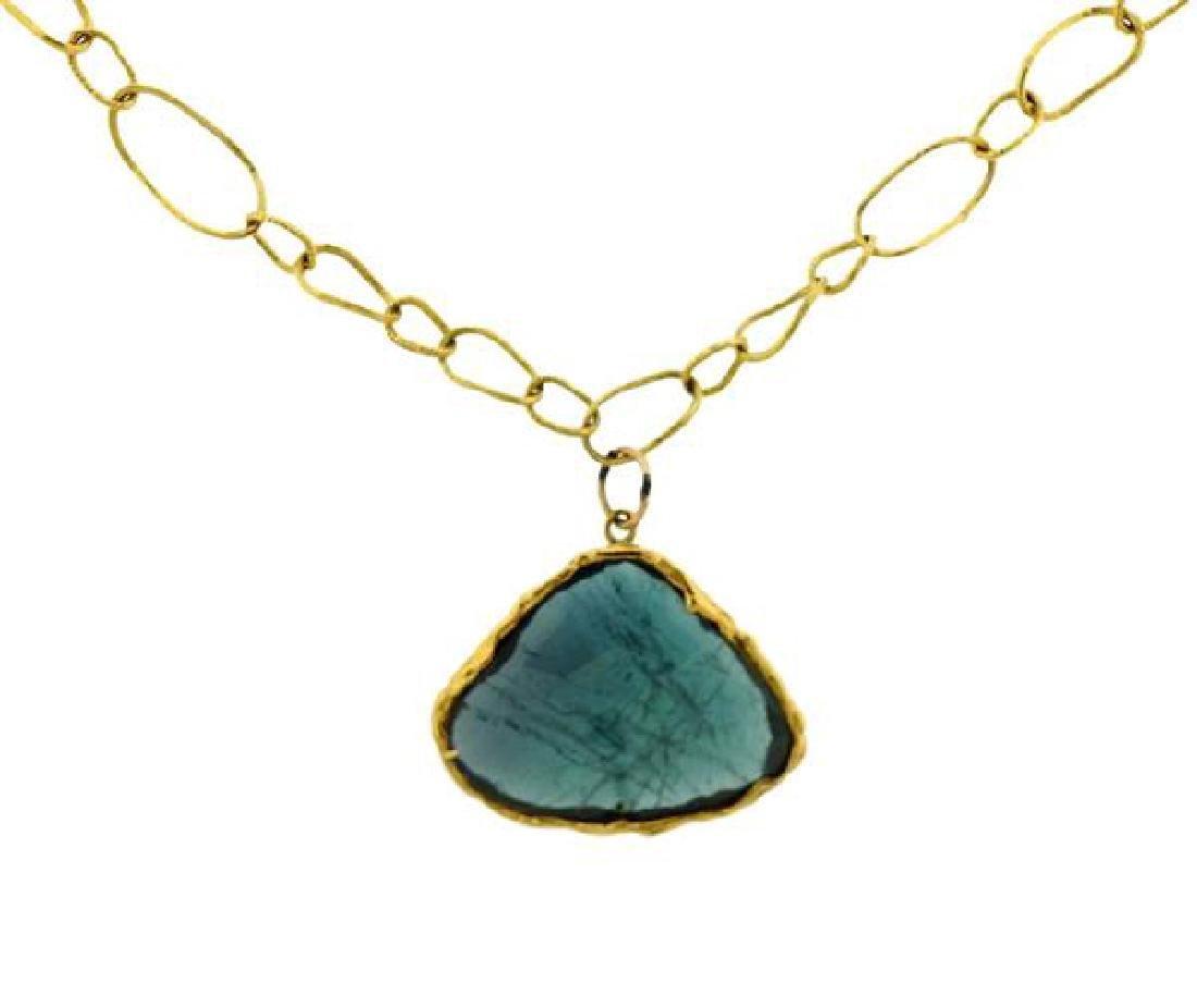 18K Gold Blue Stone Pendant Link Toggle Necklace - 2