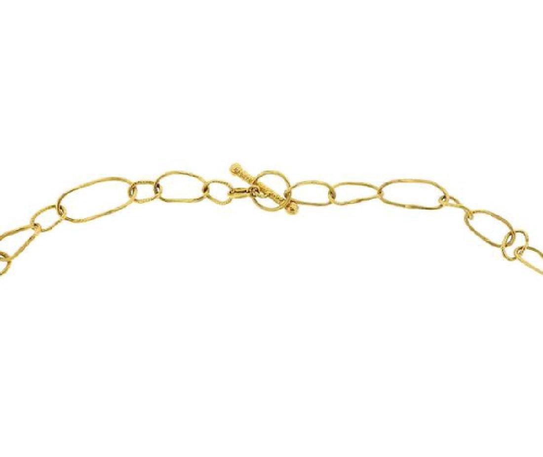 18K Gold Blue Stone Pendant Link Toggle Necklace - 3