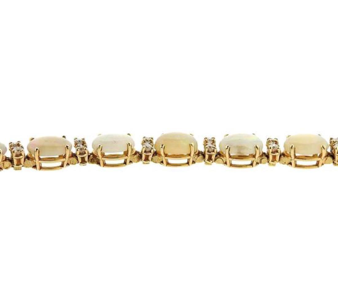 14K Gold Diamond Opal Bracelet - 3