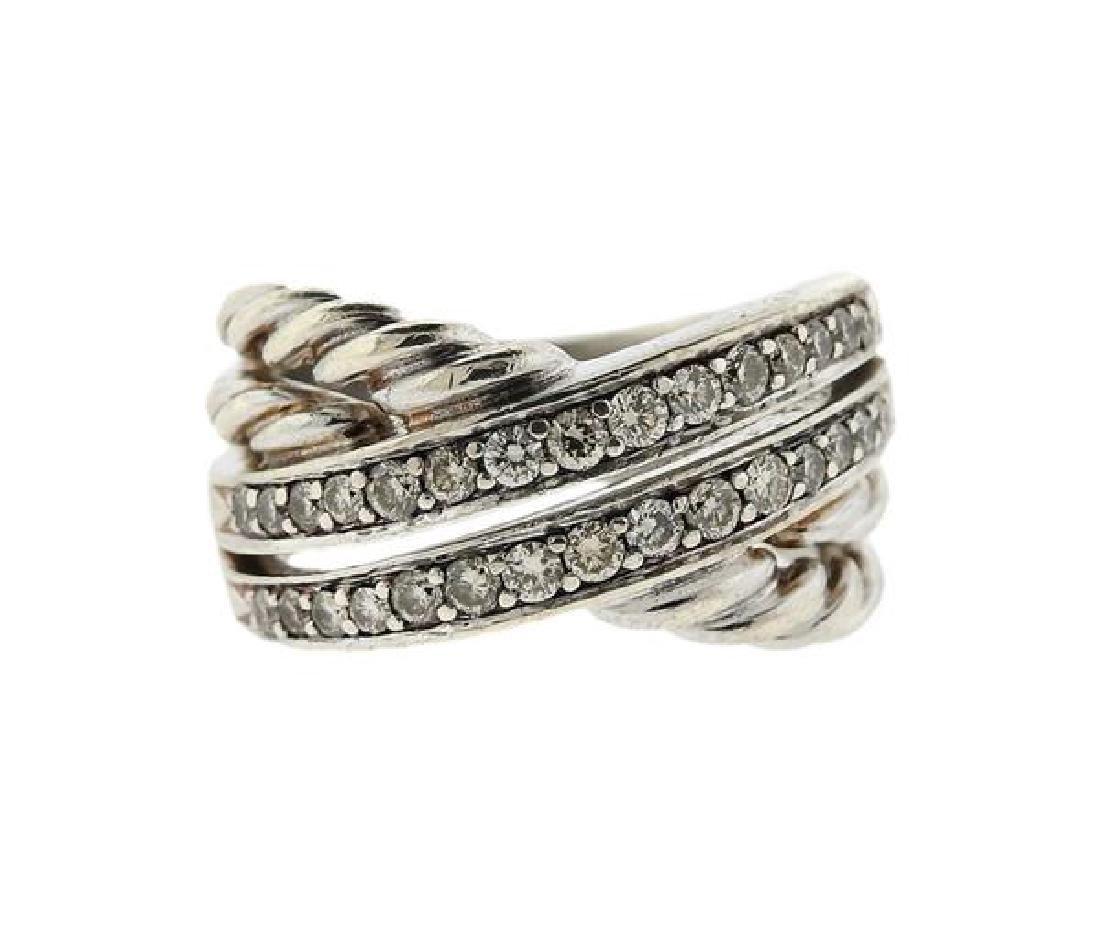 David Yurman Sterling Diamond Crossover Cable Ring