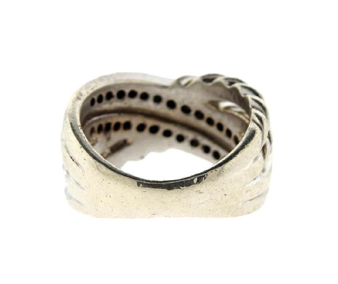 David Yurman Sterling Diamond Crossover Cable Ring - 3
