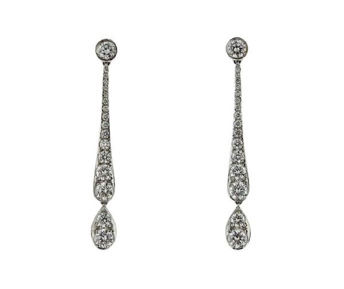 Tiffany & Co Platinum Diamond Dangle Drop Earrings
