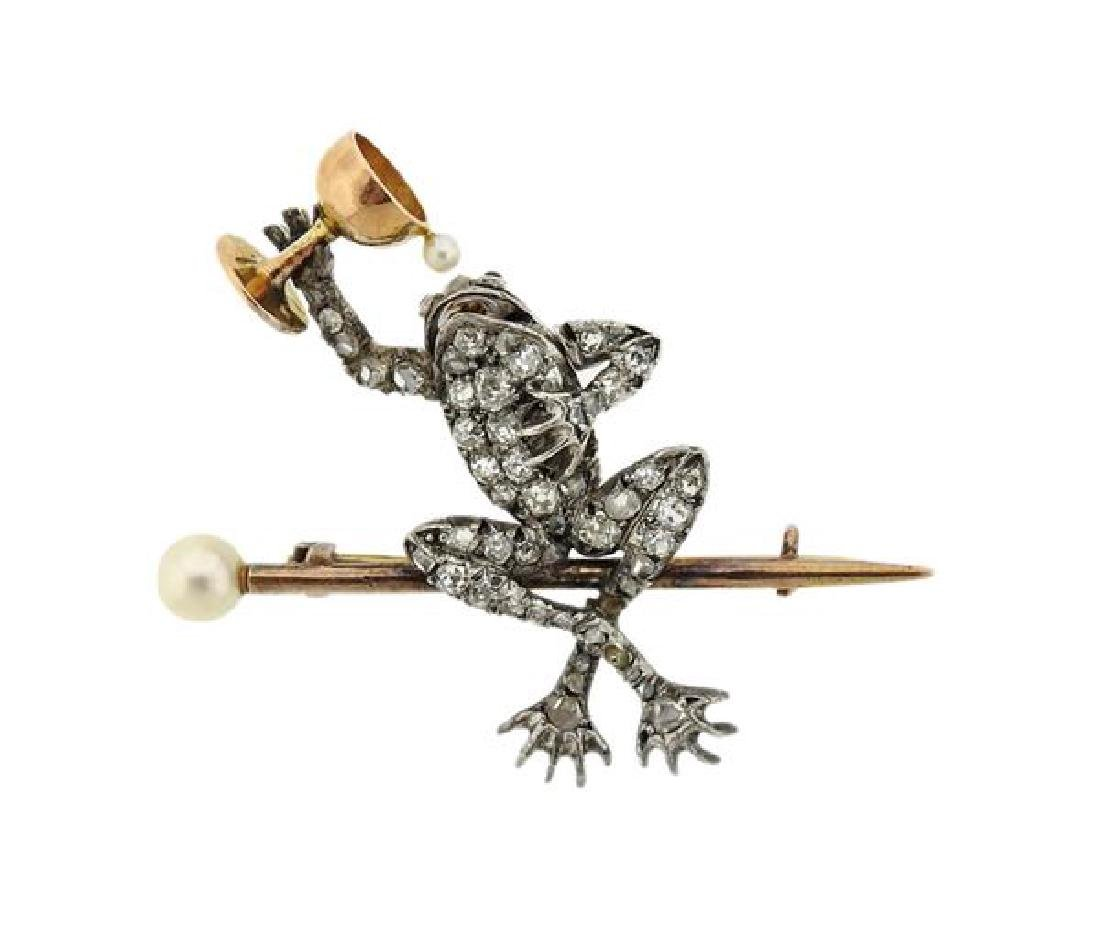 Antique 14K Gold Platinum Pearl Frog Brooch Pin
