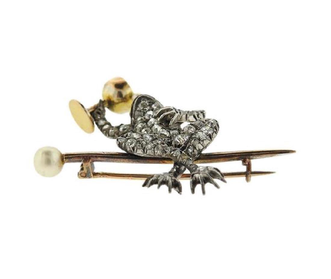 Antique 14K Gold Platinum Pearl Frog Brooch Pin - 2