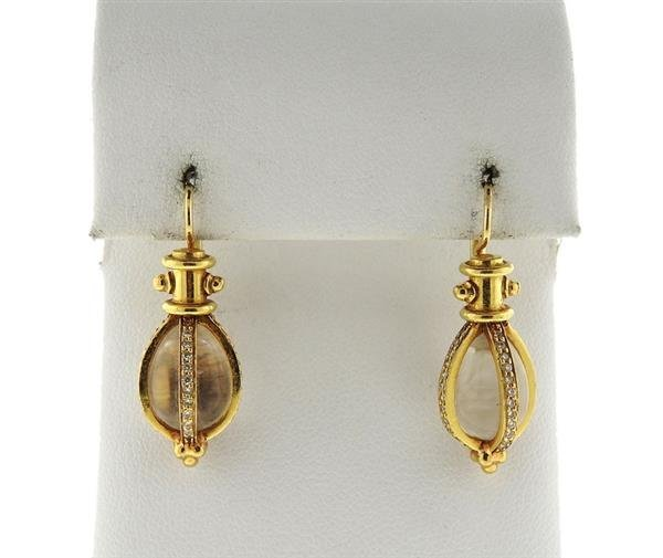 Temple St. Clair 18K Gold Diamond Amulet Earrings