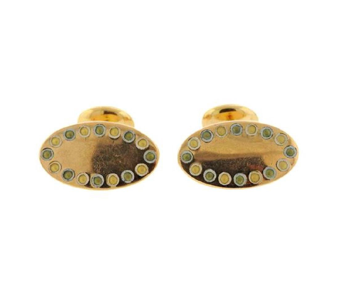 Antique English 18k Gold Oval Cufflinks - 2