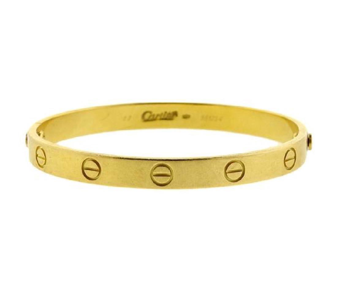 Cartier Love 18k Yellow Gold Bracelet Size 17 - 2