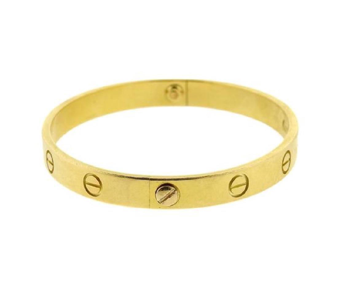 Cartier Love 18k Yellow Gold Bracelet Size 17 - 4