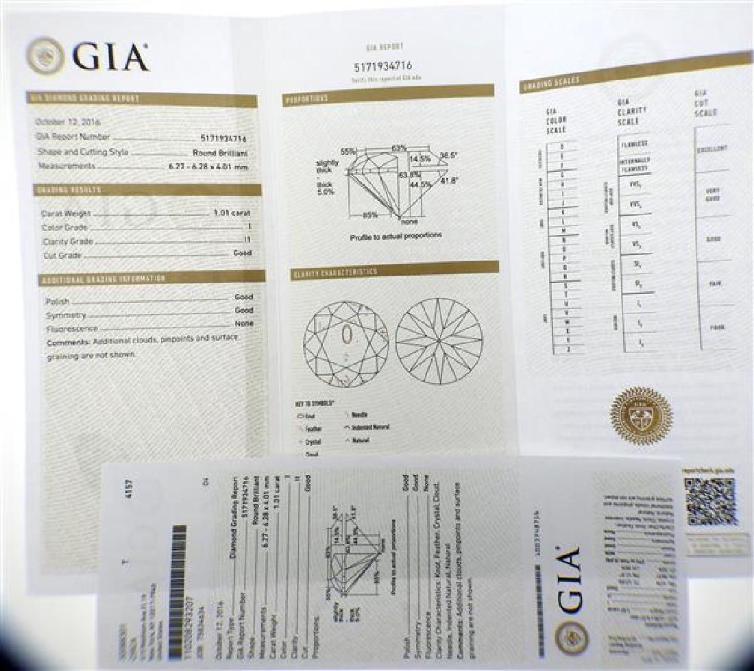 GIA Cert 1.01ct I I1 Round Brilliant Loose Diamond - 5