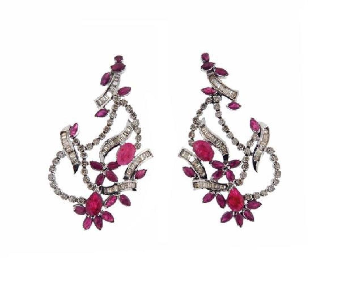 14K Gold Diamond Red Stone Earrings