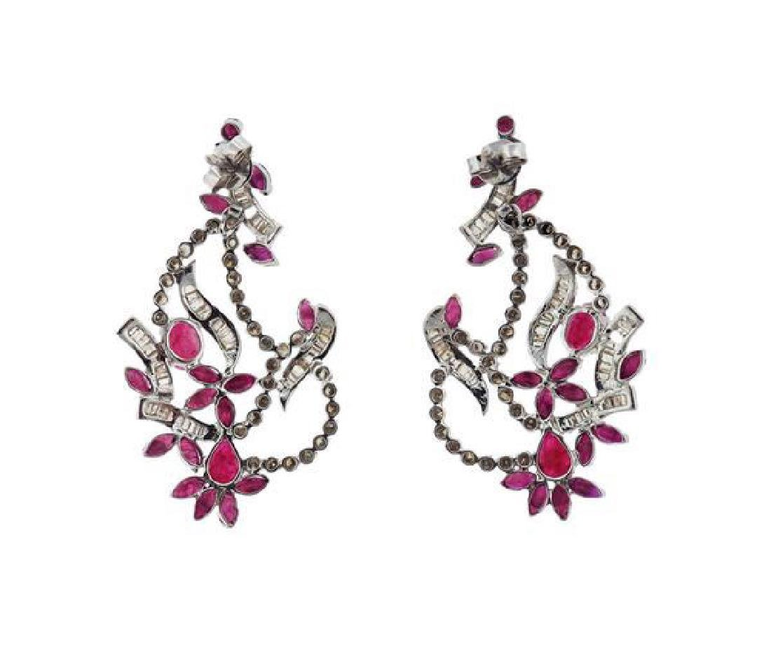 14K Gold Diamond Red Stone Earrings - 2