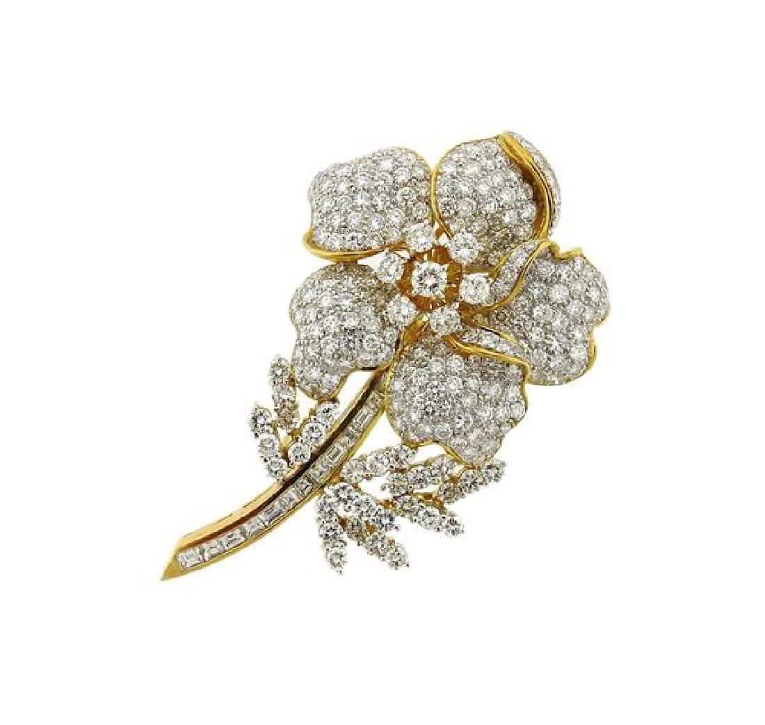 18k Gold Diamond Flower Brooch Pin