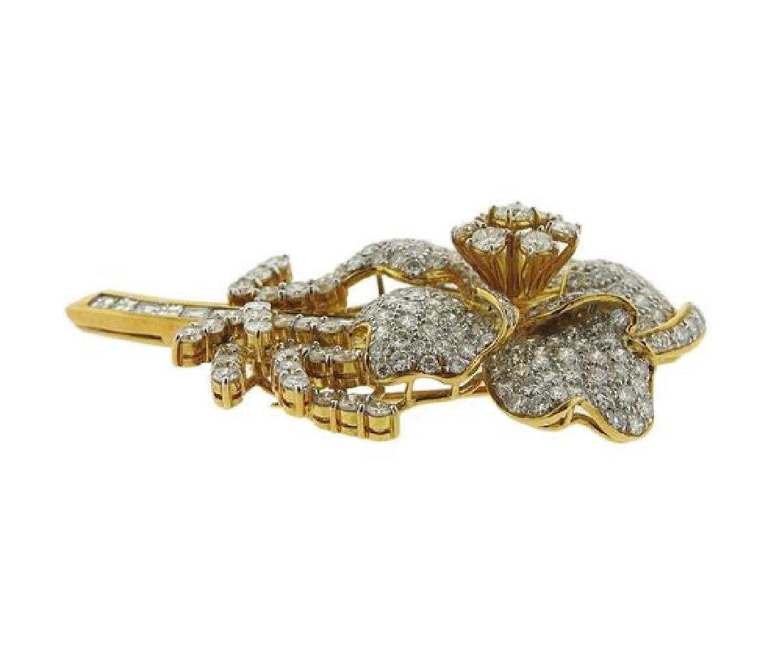 18k Gold Diamond Flower Brooch Pin - 2
