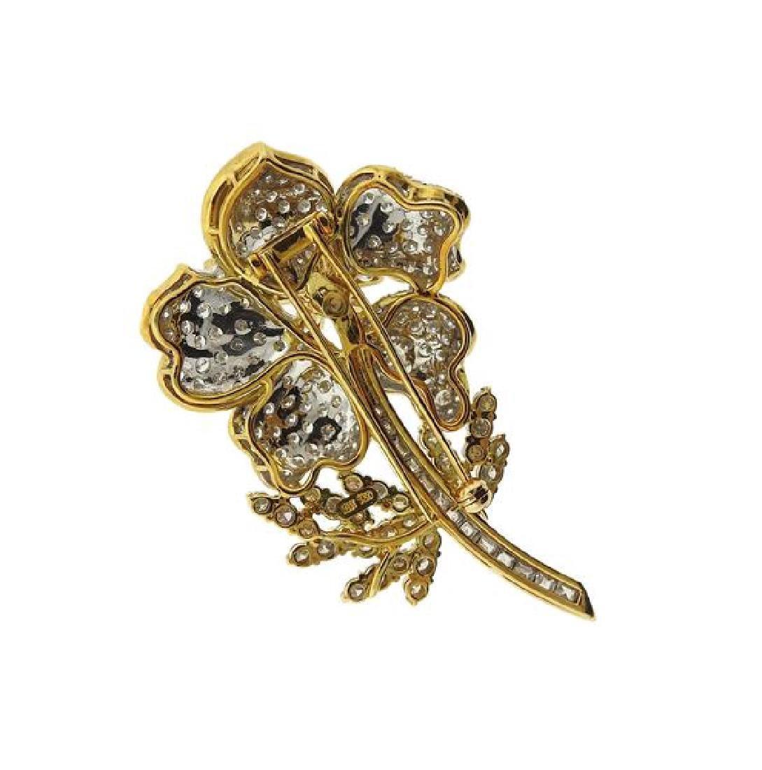 18k Gold Diamond Flower Brooch Pin - 4