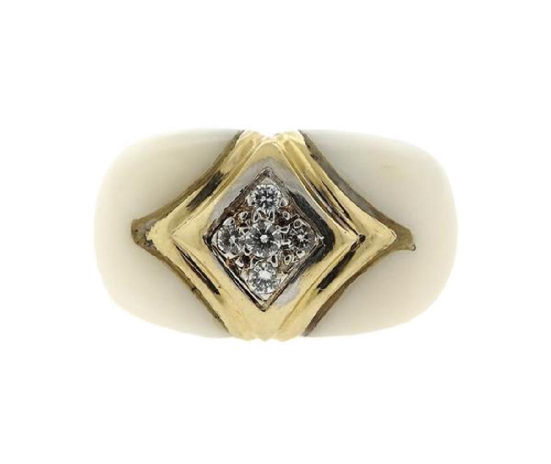 Van Cleef & Arpels 18K Gold Diamond Coral Ring