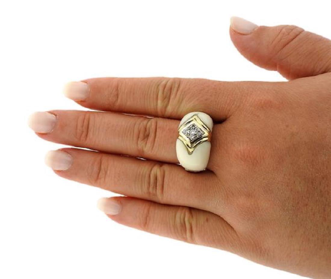 Van Cleef & Arpels 18K Gold Diamond Coral Ring - 2