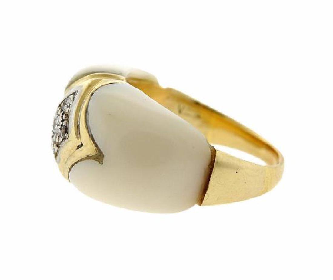 Van Cleef & Arpels 18K Gold Diamond Coral Ring - 3