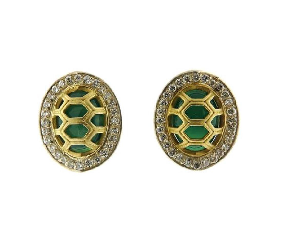 Slane Slane 18K Gold Sterling Diamond Green Stone