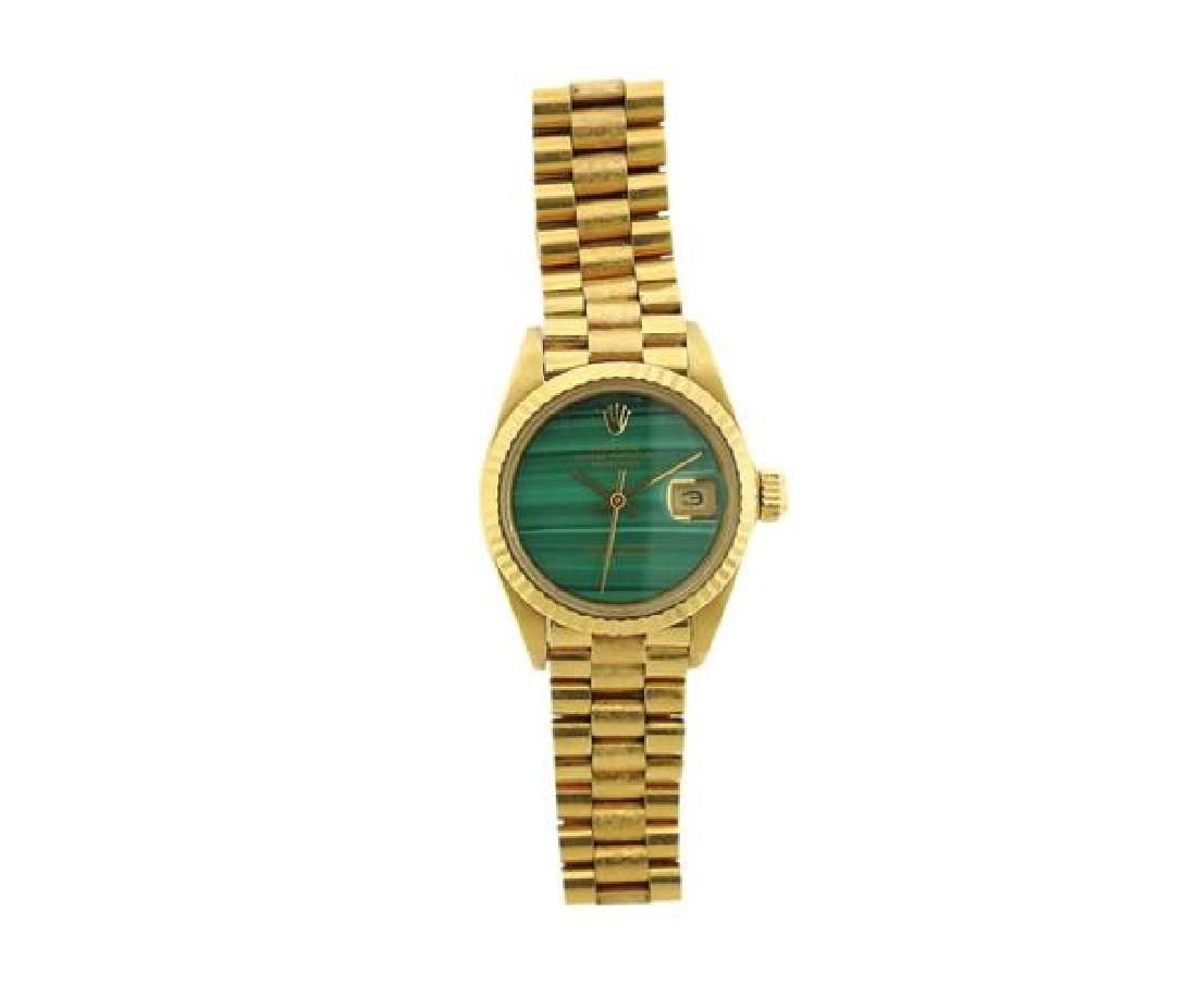 Rolex President 18k Gold Malachite Dial Watch 6917