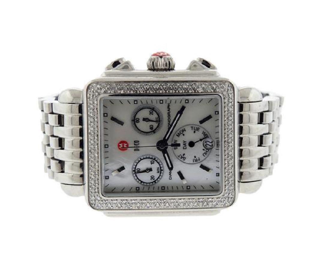 Michele Deco Steel Diamond MOP Chronograph Watch