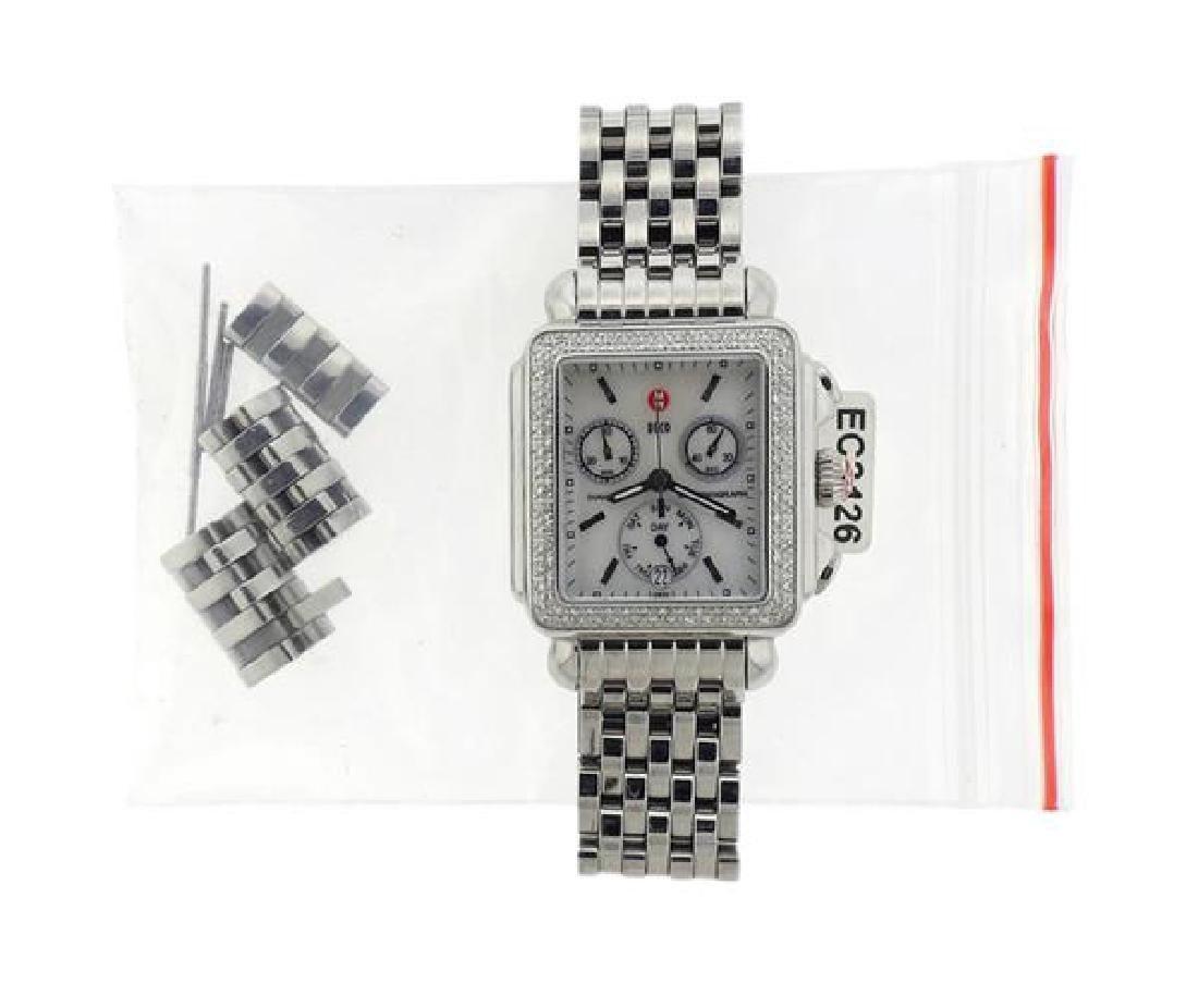 Michele Deco Steel Diamond MOP Chronograph Watch - 2
