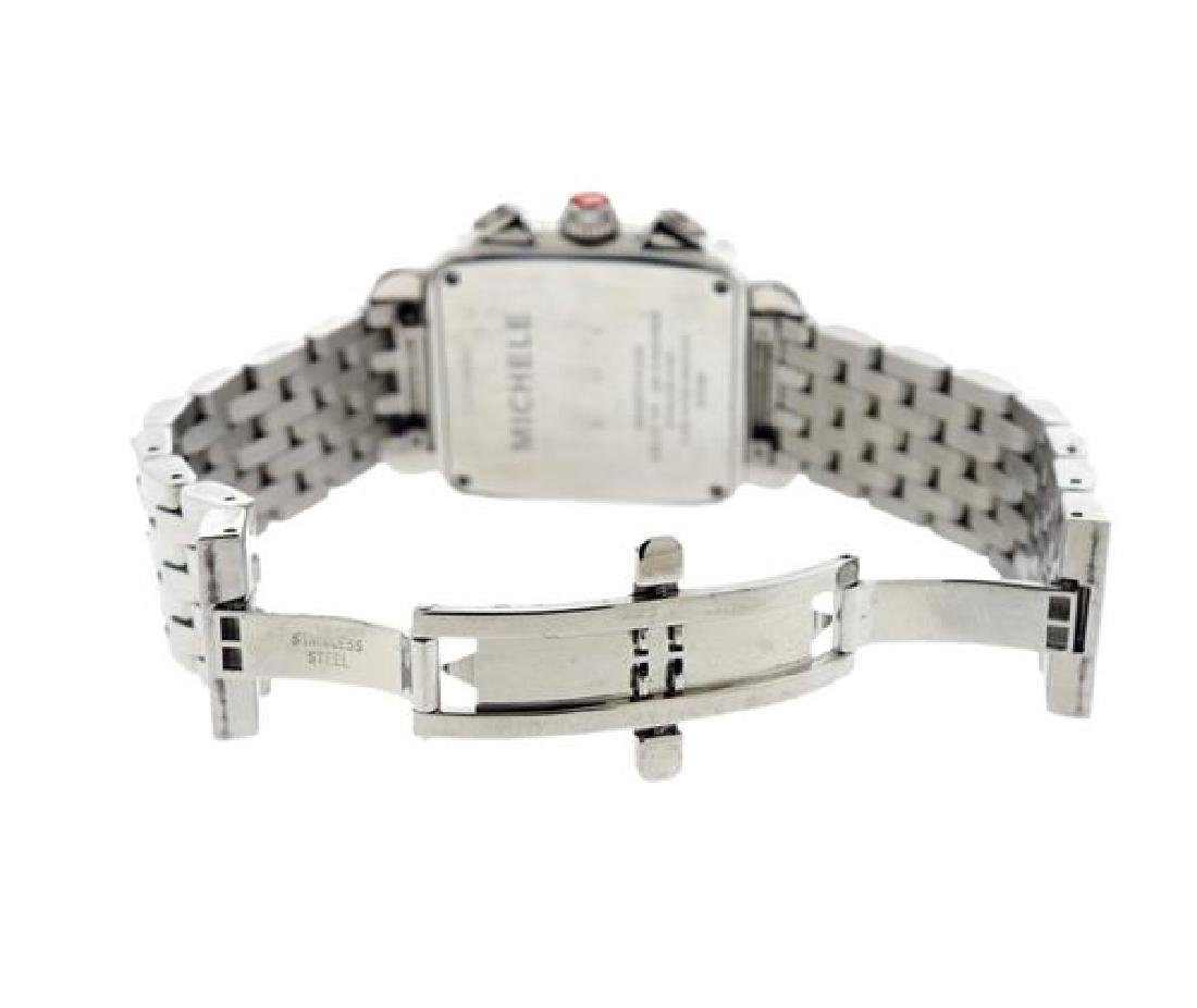 Michele Deco Steel Diamond MOP Chronograph Watch - 4