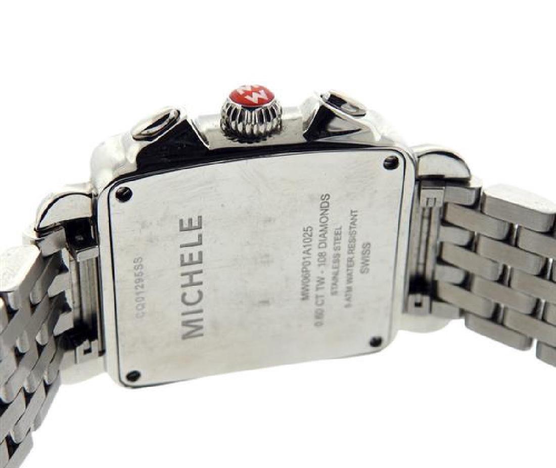 Michele Deco Steel Diamond MOP Chronograph Watch - 5