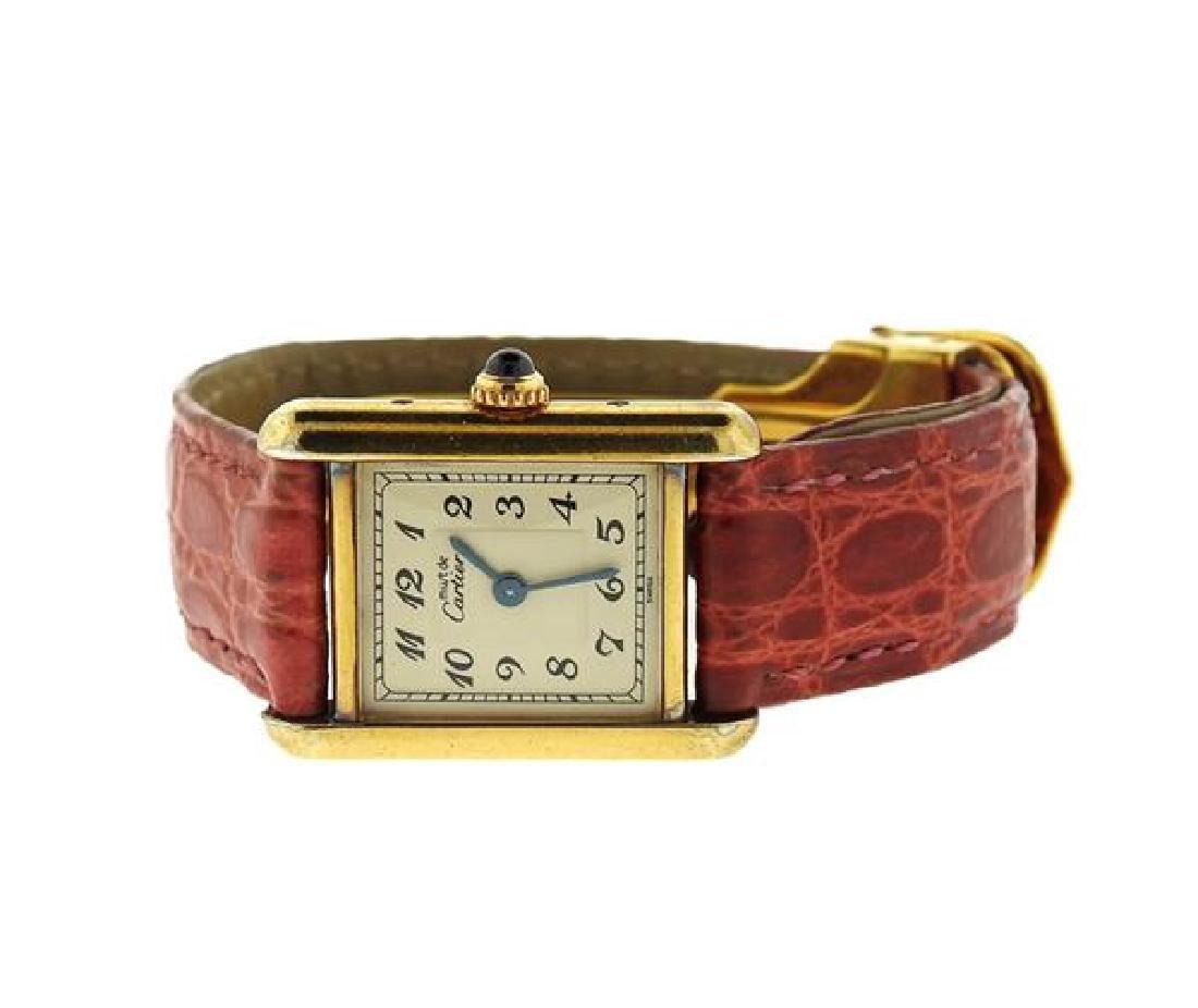 Cartier Tank Vermeil Sterling Silver Quartz Watch