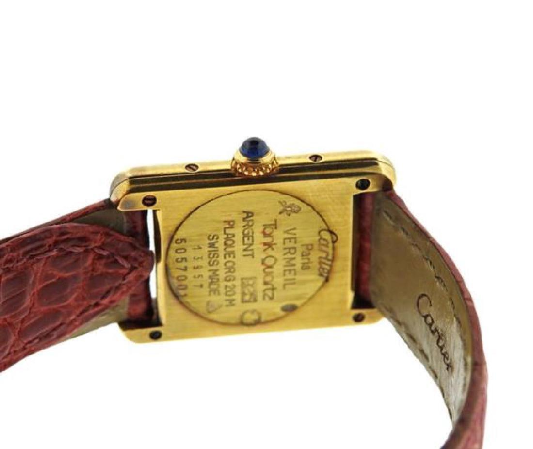 Cartier Tank Vermeil Sterling Silver Quartz Watch - 3