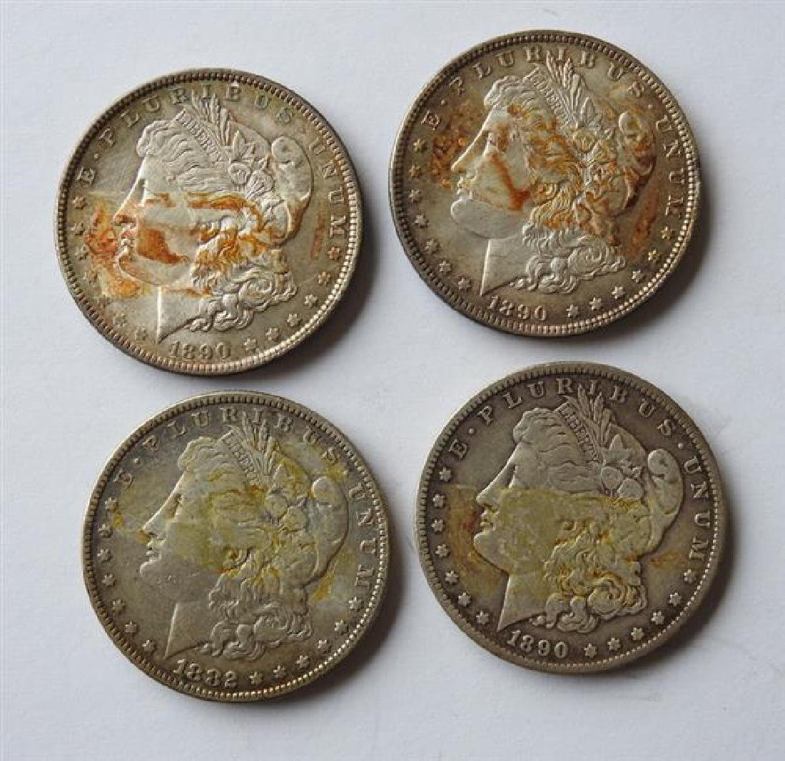 Mixed Date Silver Morgan 1 Dollar US Coin Lot of 4