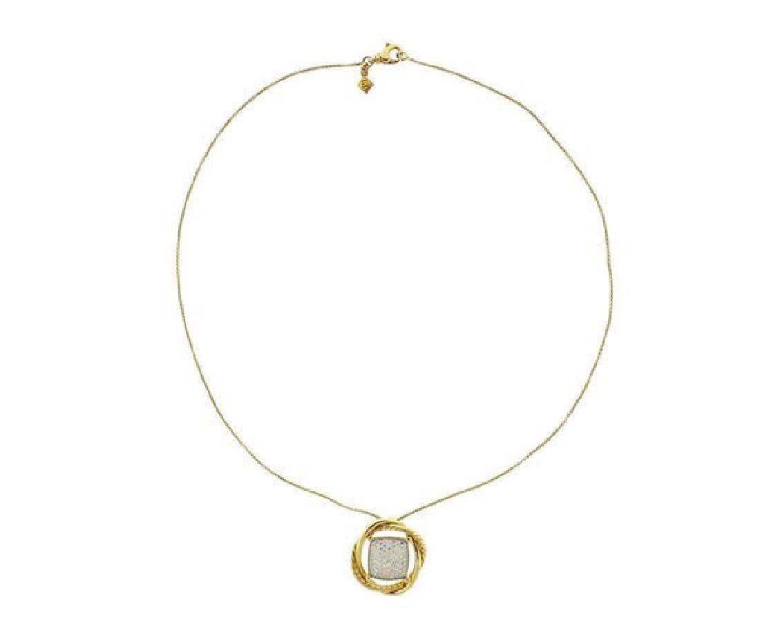 David Yurman 18K Gold Diamond Infinity Pendant Necklace