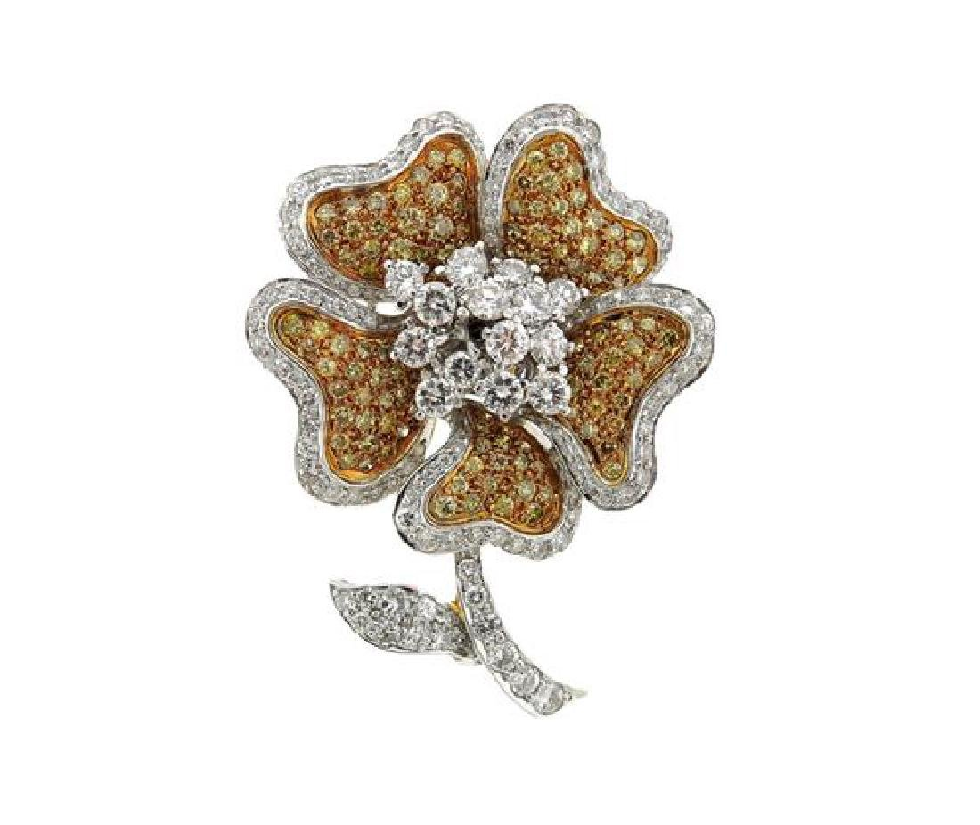 18k Gold Fancy Diamond Flower Trembler Brooch Pendant