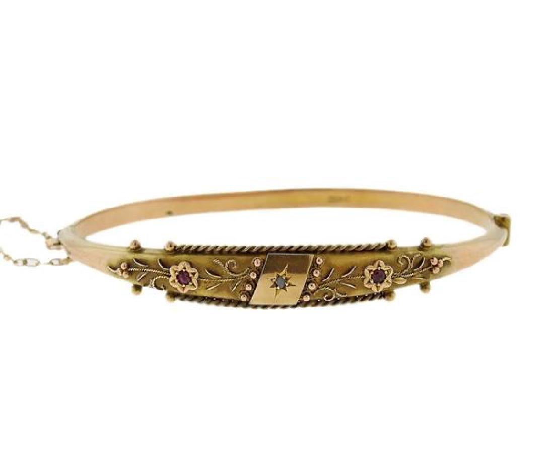 Antique Victorian 10k Gold Bangle Bracelet